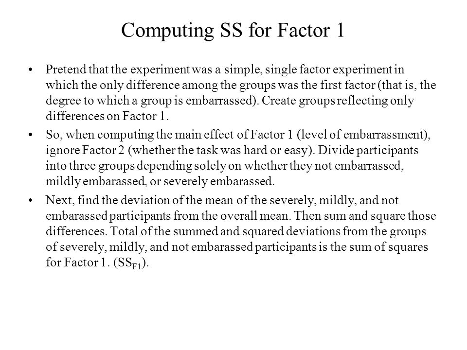 Computing SS for Factor 1