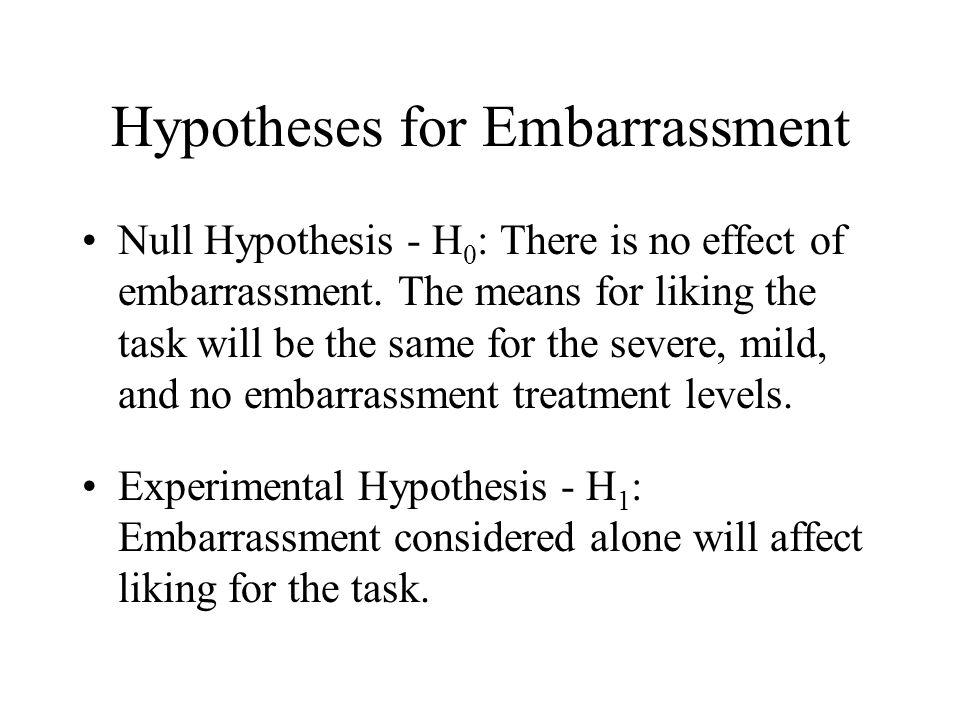 Hypotheses for Embarrassment