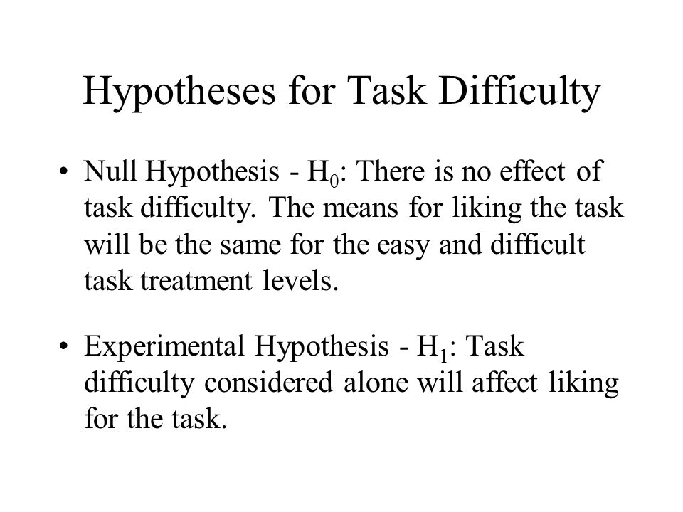 Hypotheses for Task Difficulty