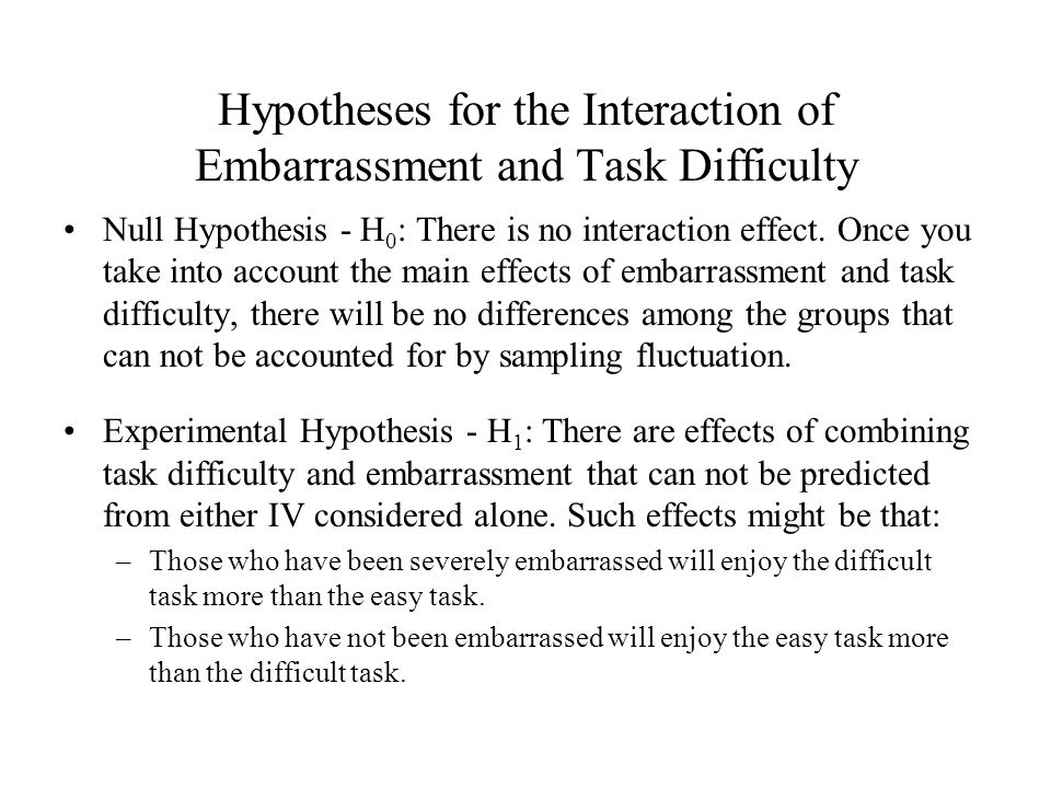 Hypotheses for the Interaction of Embarrassment and Task Difficulty