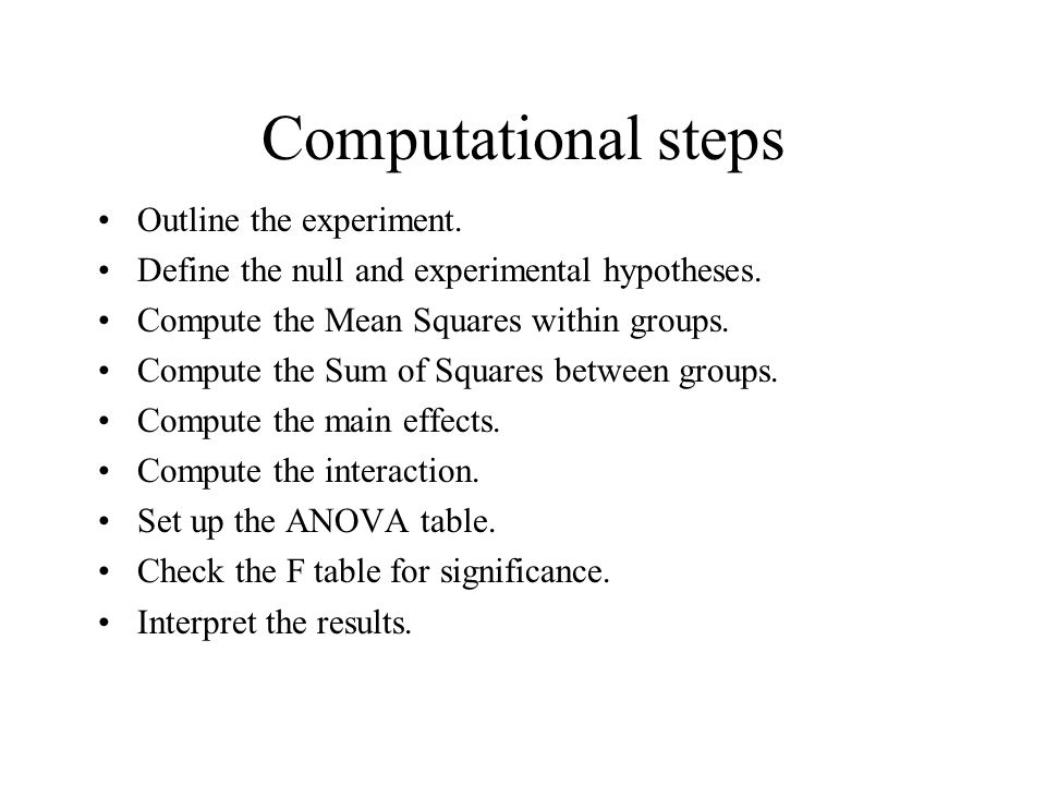 Computational steps Outline the experiment.