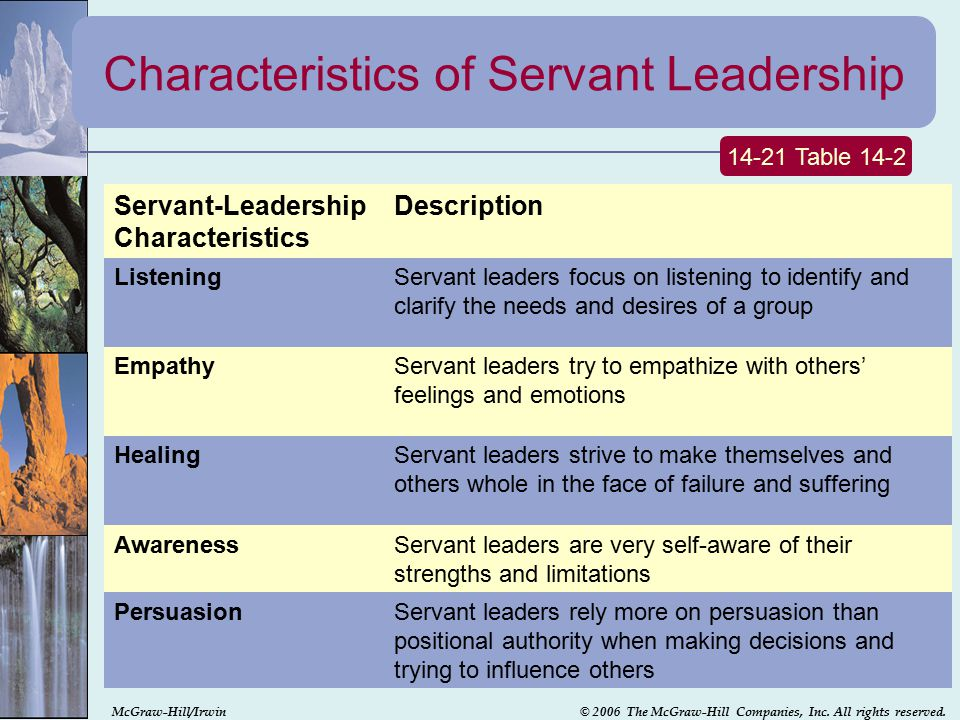 characteristics of servant leadership The first several verses of this chapter describe a servant leader as they reveal the mind of christ and his humility but then paul turns a corner and gives a series of personal admonishments in these verses, we see five characteristics of a christian servant.