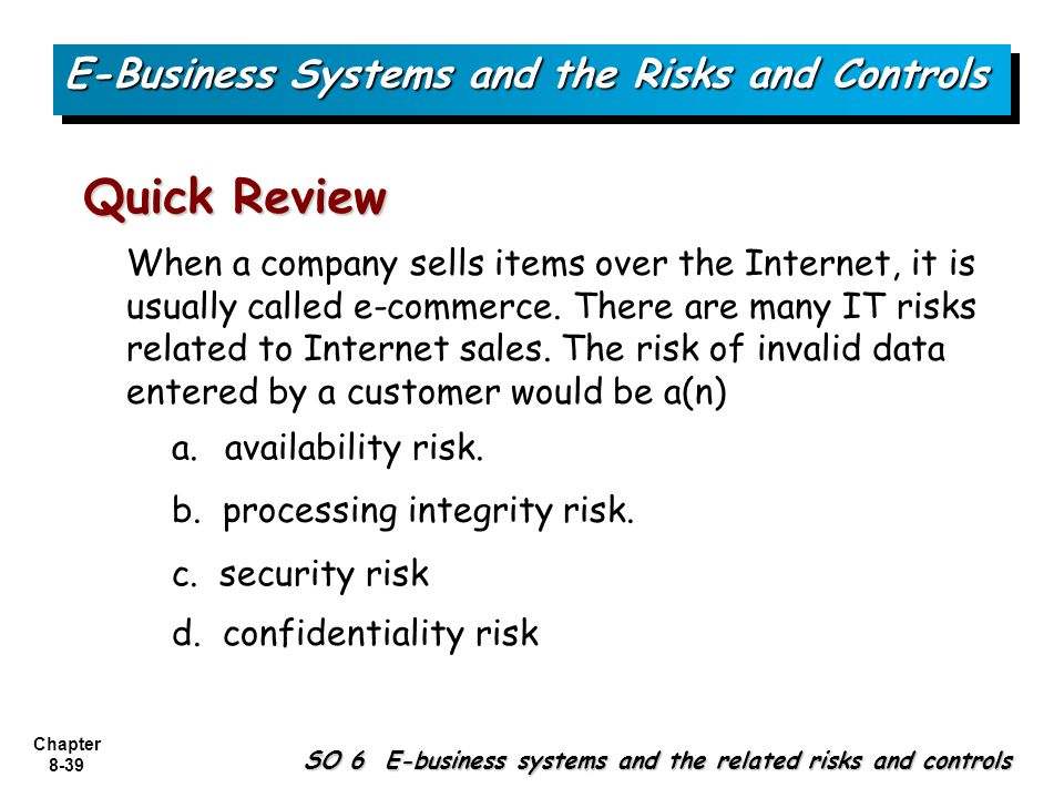 potential risks of an e commerce system Risk management for e-business  such as configuring systems incorrectly or  other individual risks result from fraud in e-commerce,.