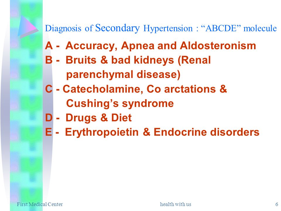 Diagnosis of Secondary Hypertension : ABCDE molecule