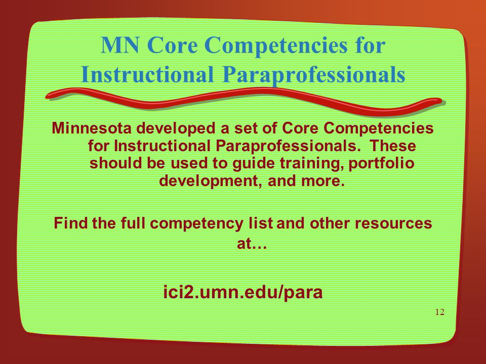 MN Core Competencies for Instructional Paraprofessionals