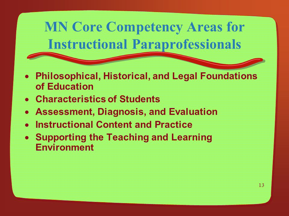 MN Core Competency Areas for Instructional Paraprofessionals