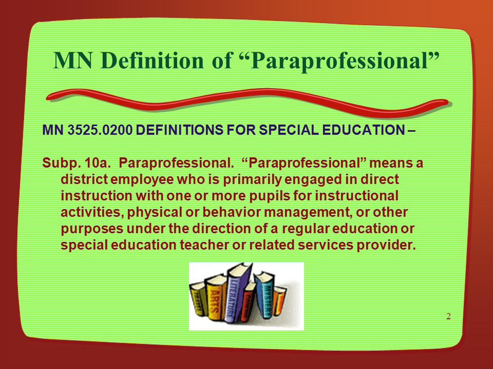 MN Definition of Paraprofessional