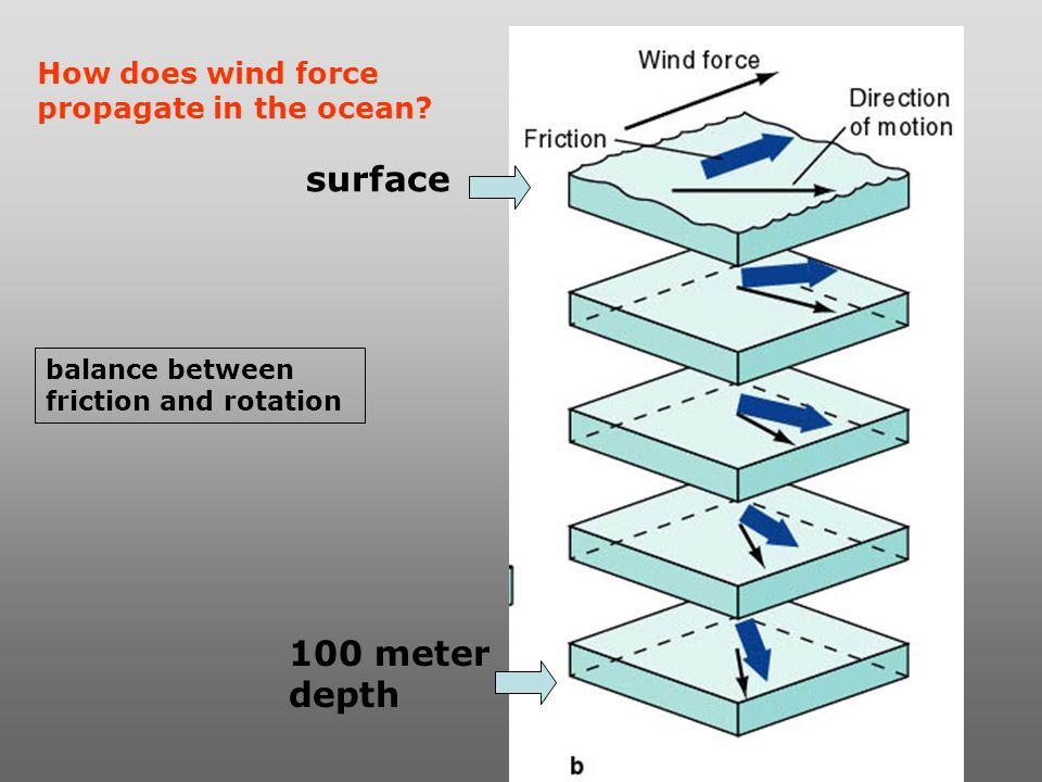 surface 100 meter depth How does wind force propagate in the ocean