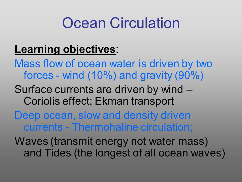 Ocean Circulation Learning objectives: