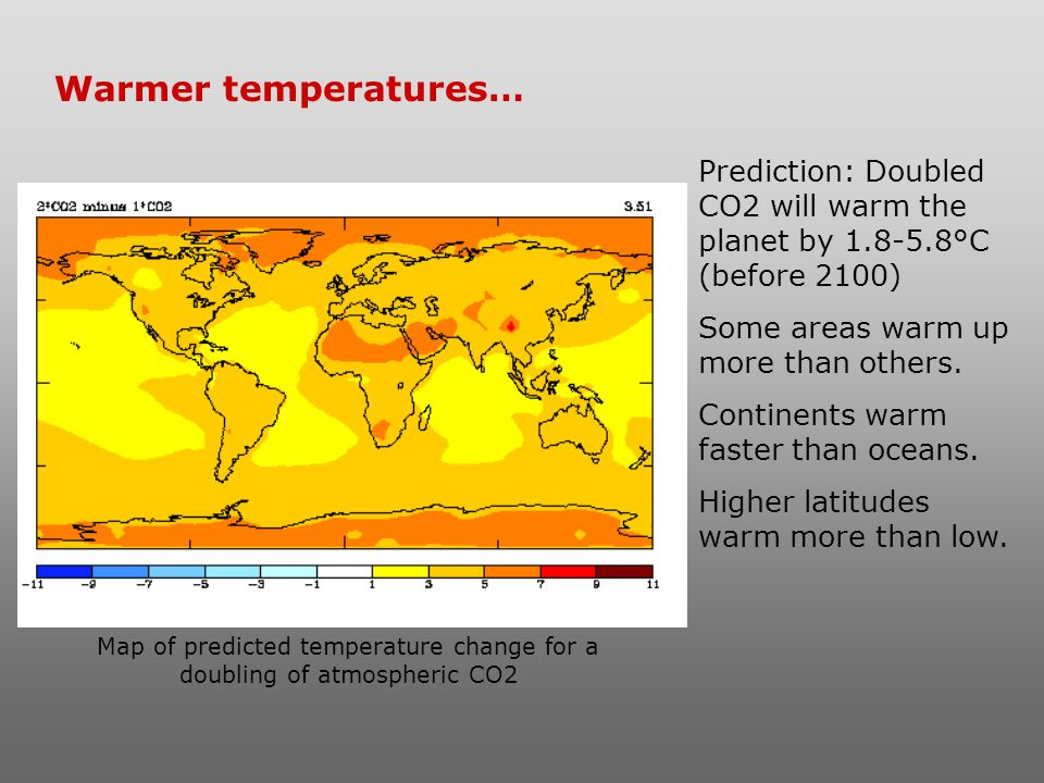 Map of predicted temperature change for a doubling of atmospheric CO2
