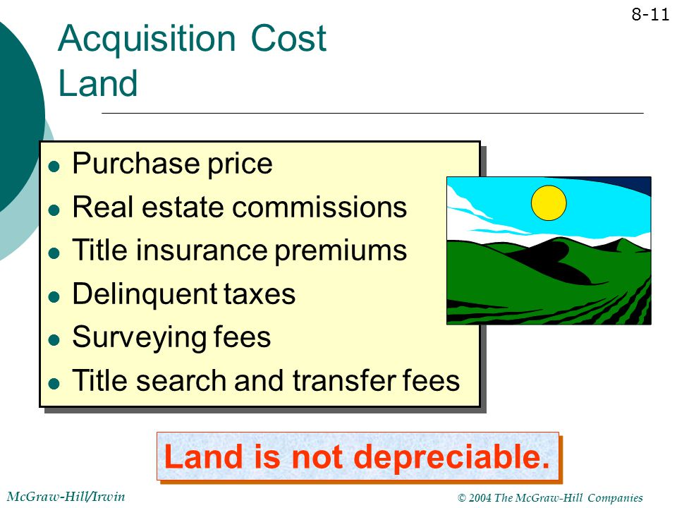 Acquisition Cost Land Land is not depreciable. Purchase price