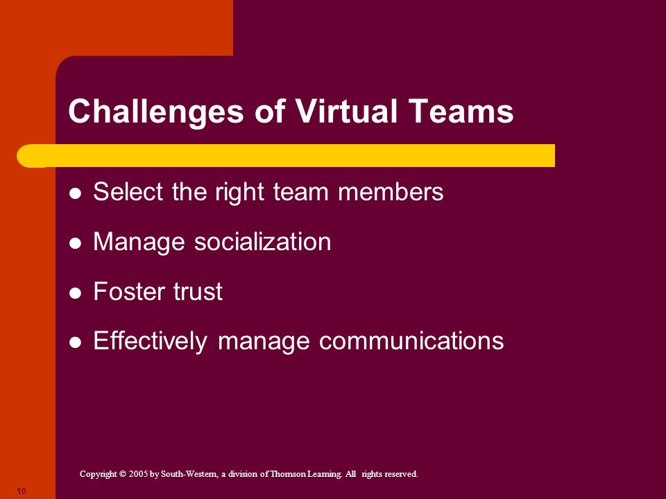 virtual teams the challenges and solutions Virtual team failure: six common reasons why virtual teams do not succeed  creating value by balancing multiple challenges and choices, the art and science of 360.