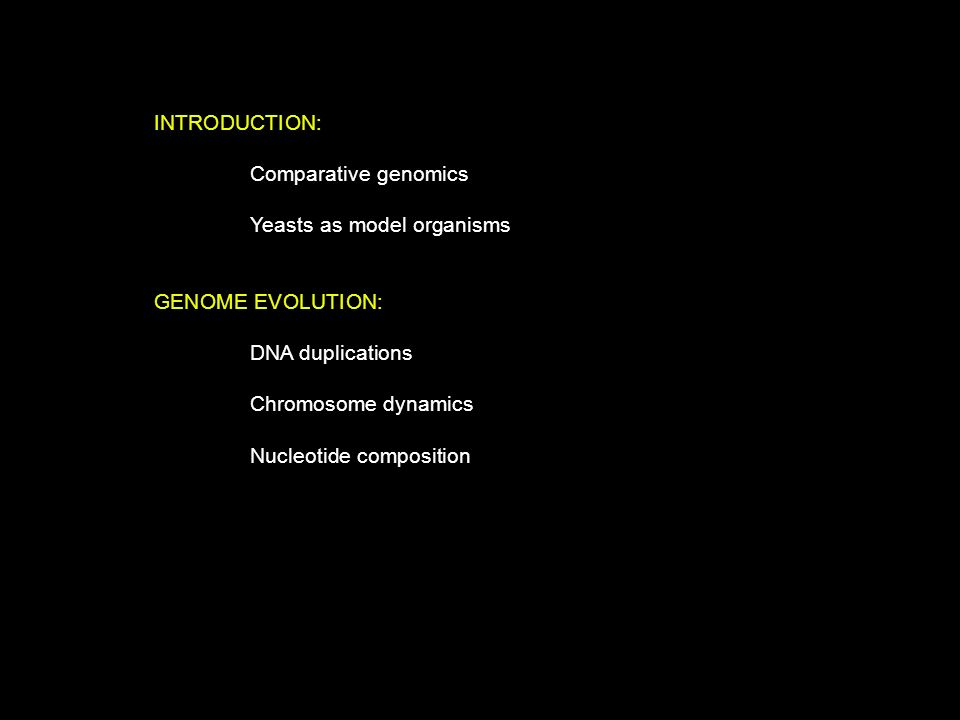 INTRODUCTION: Comparative genomics. Yeasts as model organisms. GENOME EVOLUTION: DNA duplications.