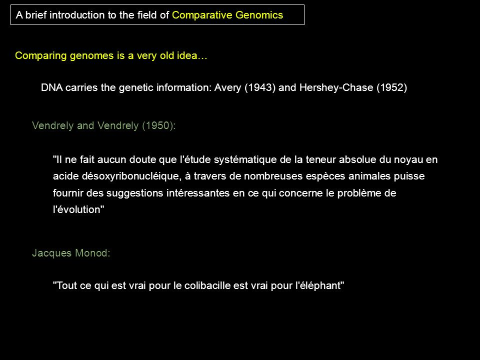 A brief introduction to the field of Comparative Genomics