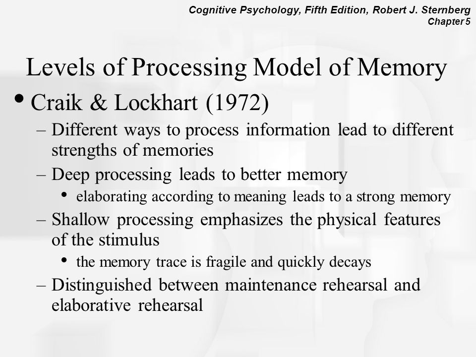 levels of processing on memory recall Keywords: format effects, recognition memory, levels of processing one of the   memory, and is found for both serial and free recall (cowan et al, 2002.