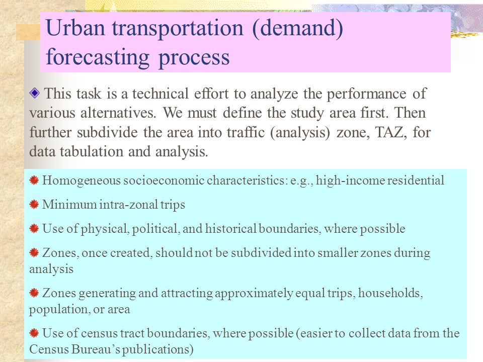 an analysis of the methods of transportation within urban areas Analyzing urban poverty a summary of methods and the main issues in conducting urban poverty analysis or between urban slum areas within a given city.