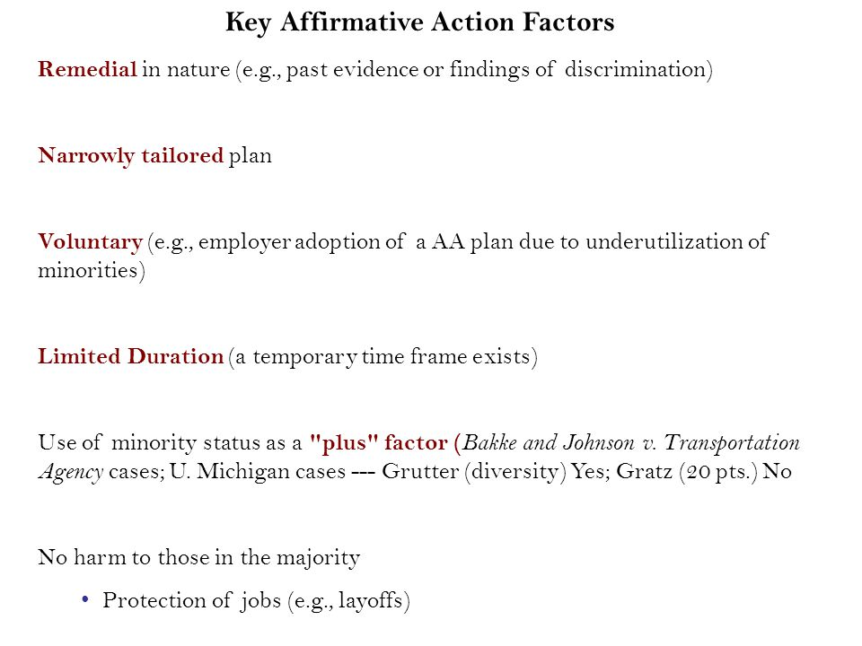 criteria for proof of affirmative action plan remedial nature Today, affirmative action programs are deeply rooted in society and are an   hensive plans and specific goals for minority enterprise program) 24 cfr  of  the opportunities to bid on government construction projects and the criteria   crimination  a large body of civil rights law will provide remedial action) see.