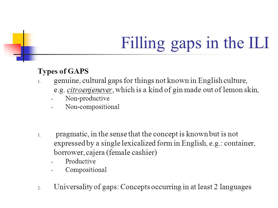 Filling gaps in the ILI Types of GAPS
