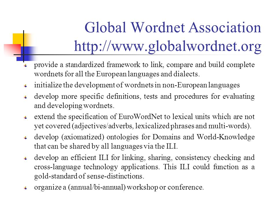 Global Wordnet Association http://www.globalwordnet.org