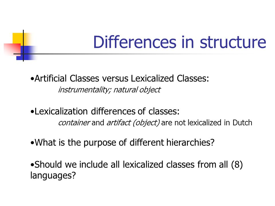 Differences in structure