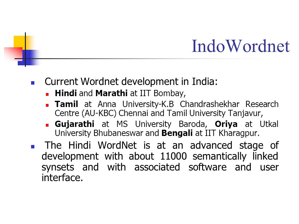 IndoWordnet Current Wordnet development in India: