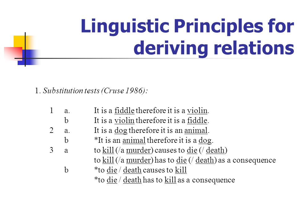 Linguistic Principles for deriving relations