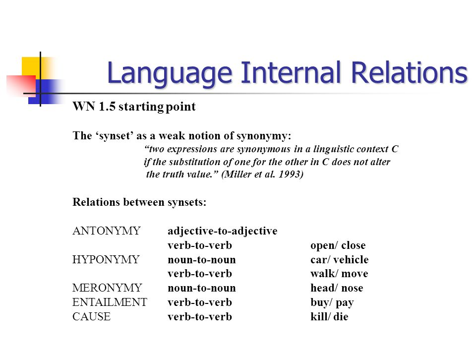 Language Internal Relations