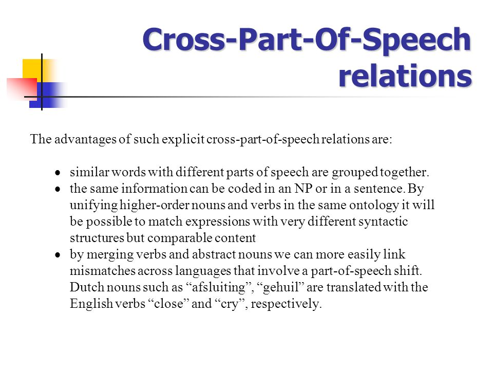 Cross-Part-Of-Speech relations
