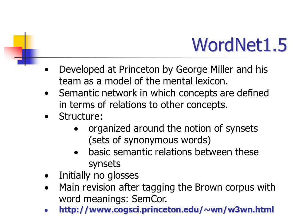 WordNet1.5Developed at Princeton by George Miller and his team as a model of the mental lexicon.