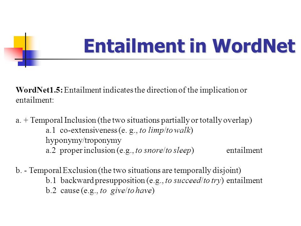 Entailment in WordNet WordNet1.5: Entailment indicates the direction of the implication or entailment: