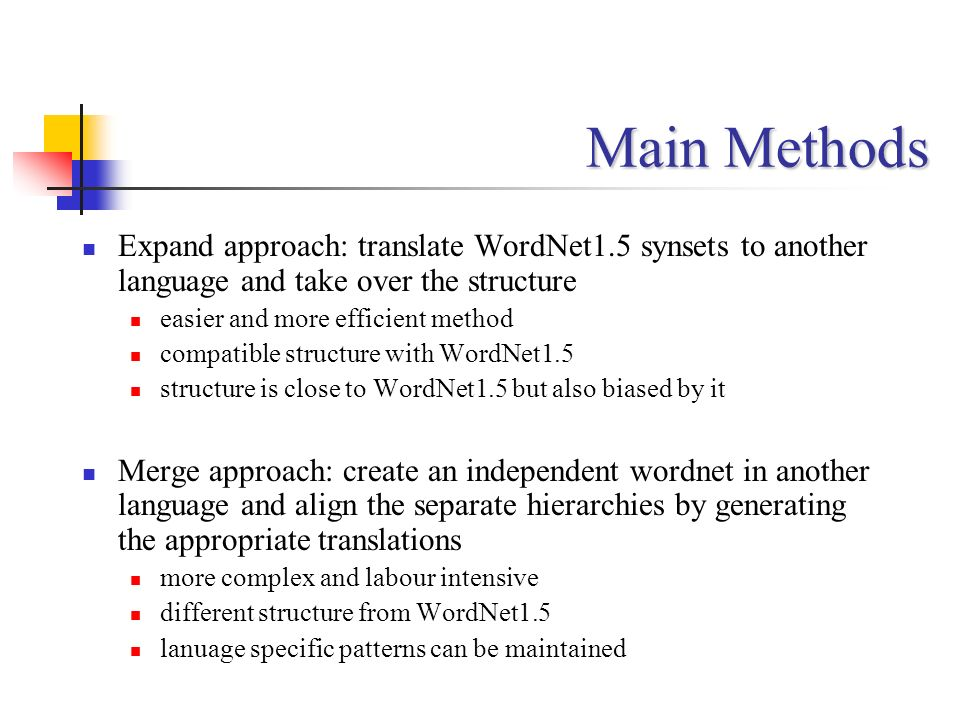 Main Methods Expand approach: translate WordNet1.5 synsets to another language and take over the structure.