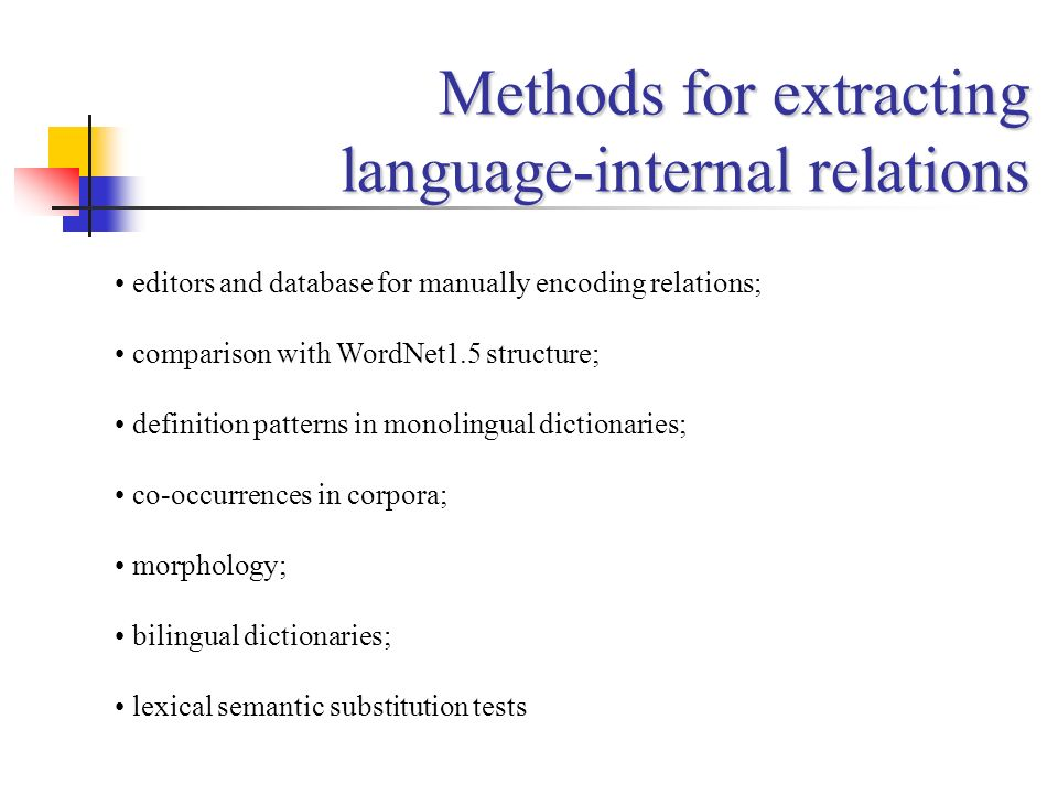 Methods for extracting language-internal relations