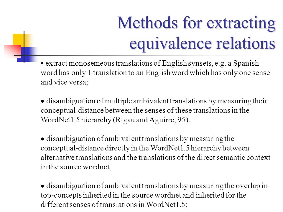 Methods for extracting equivalence relations