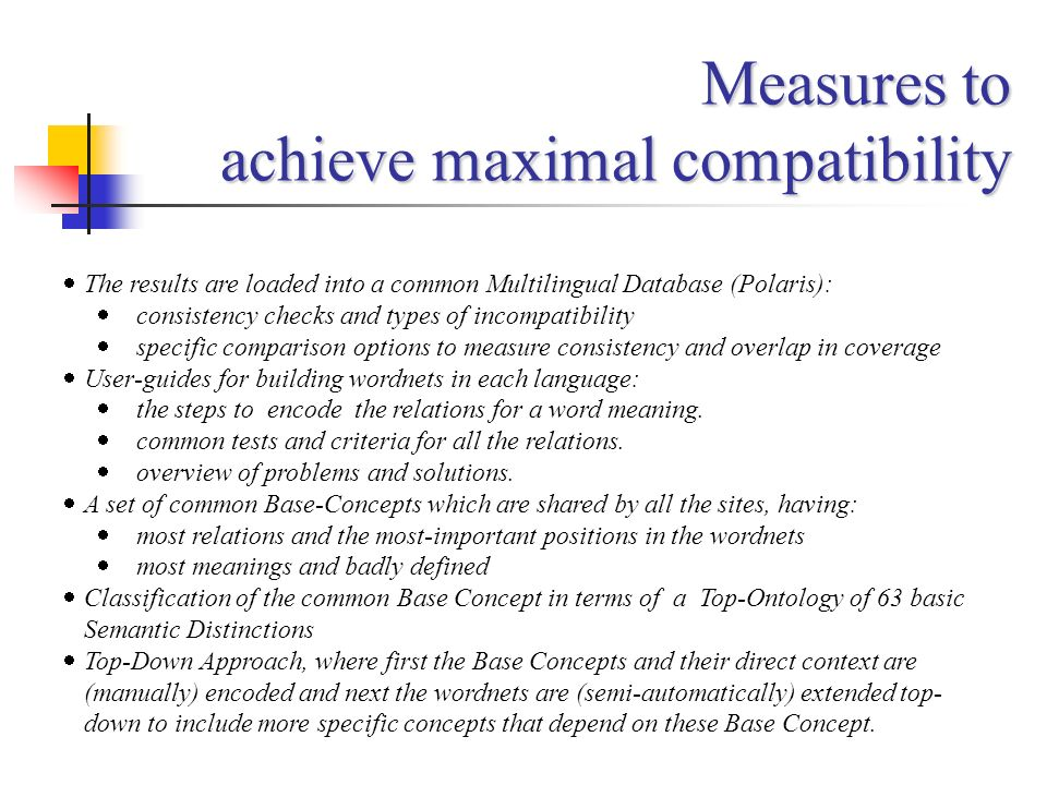 Measures to achieve maximal compatibility