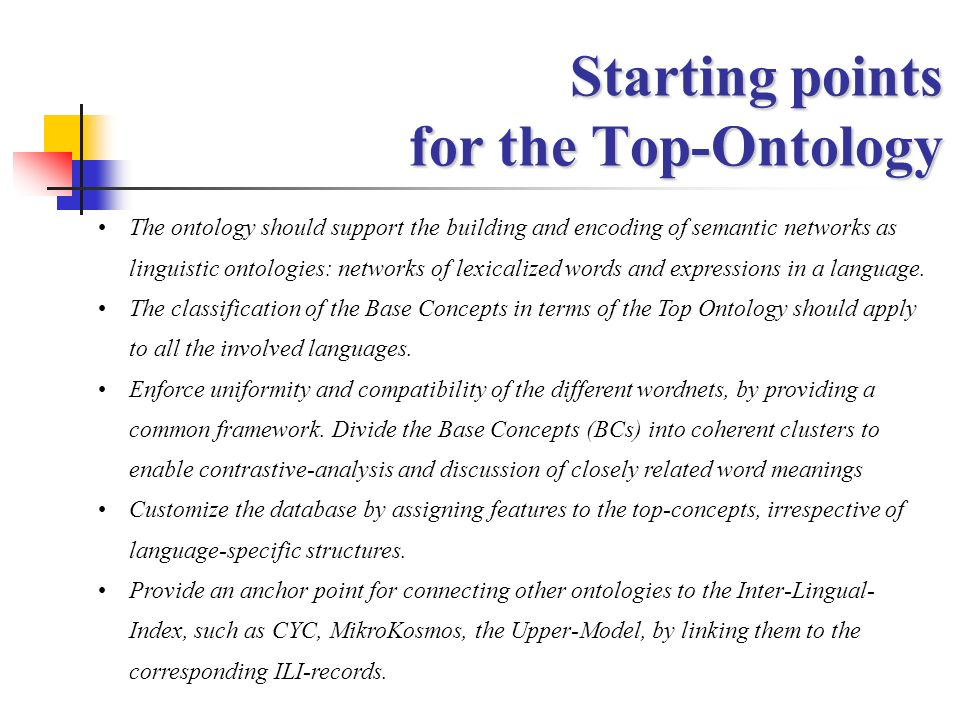 Starting points for the Top-Ontology