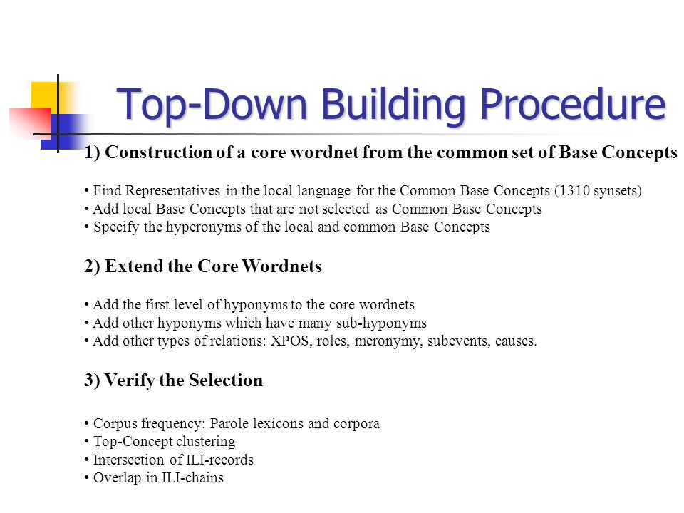Top-Down Building Procedure
