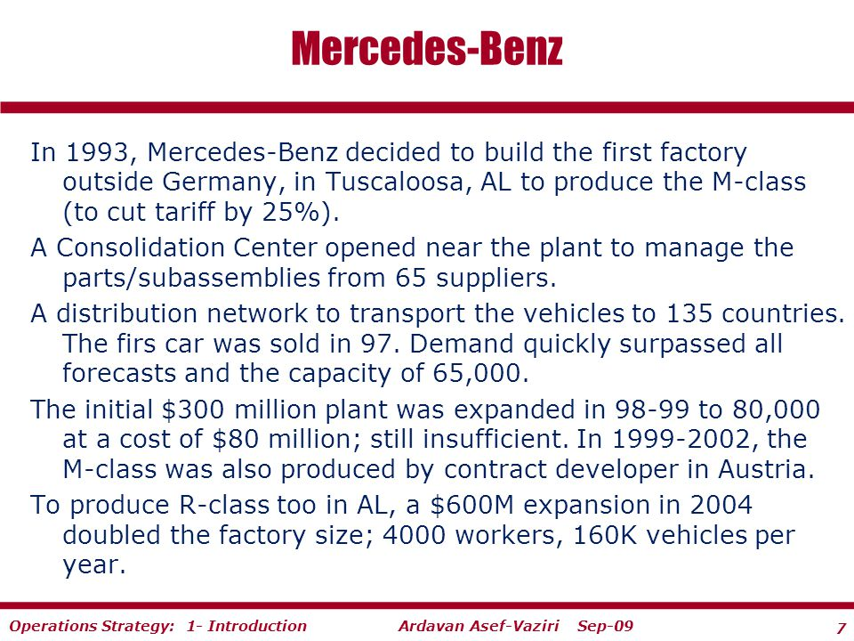 Operations strategy there s nothing here to take by storm for Mercedes benz parts distribution center