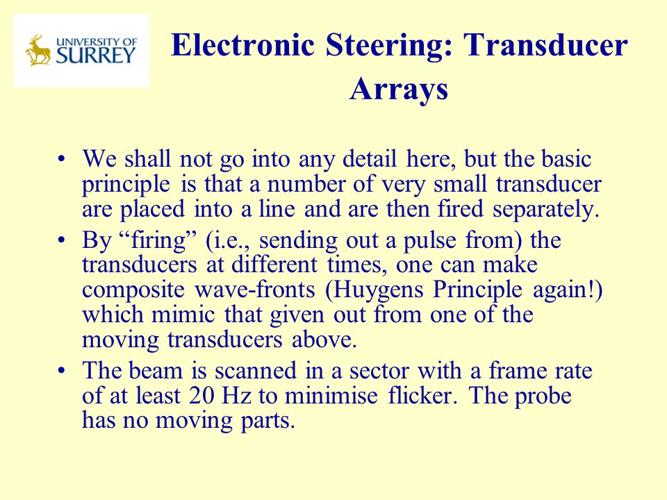 Electronic Steering: Transducer Arrays