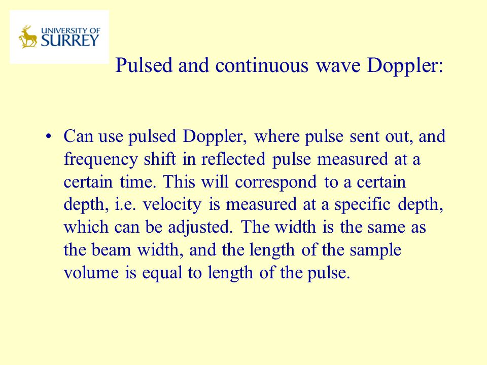 Pulsed and continuous wave Doppler: