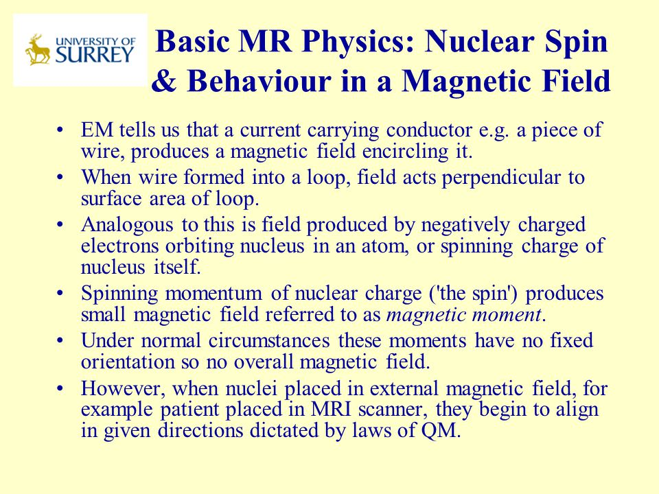 Basic MR Physics: Nuclear Spin & Behaviour in a Magnetic Field