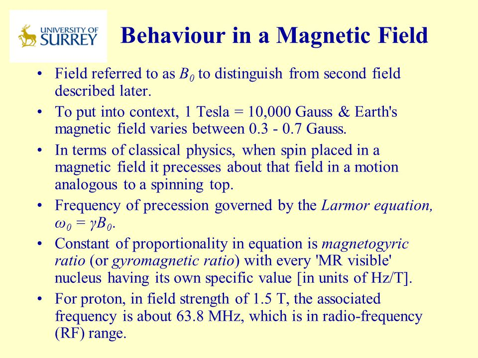Behaviour in a Magnetic Field