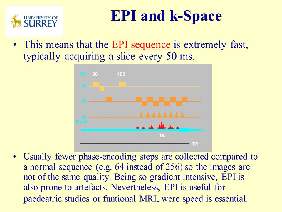 PH3-MI April 17, 2017. EPI and k-Space. This means that the EPI sequence is extremely fast, typically acquiring a slice every 50 ms.