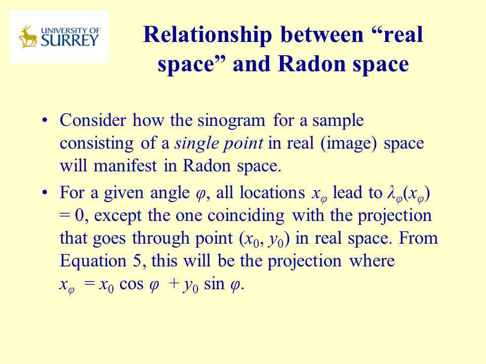 Relationship between real space and Radon space