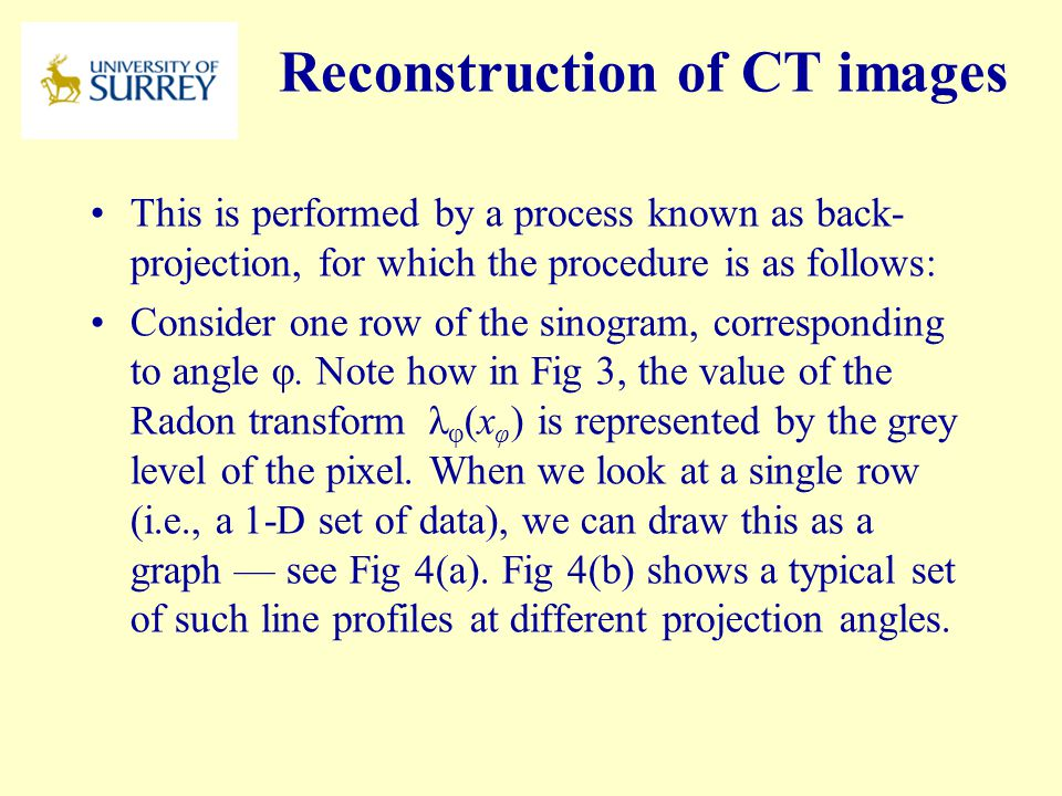 Reconstruction of CT images