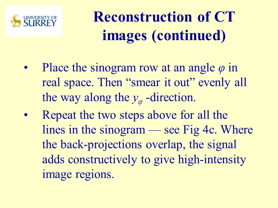 Reconstruction of CT images (continued)