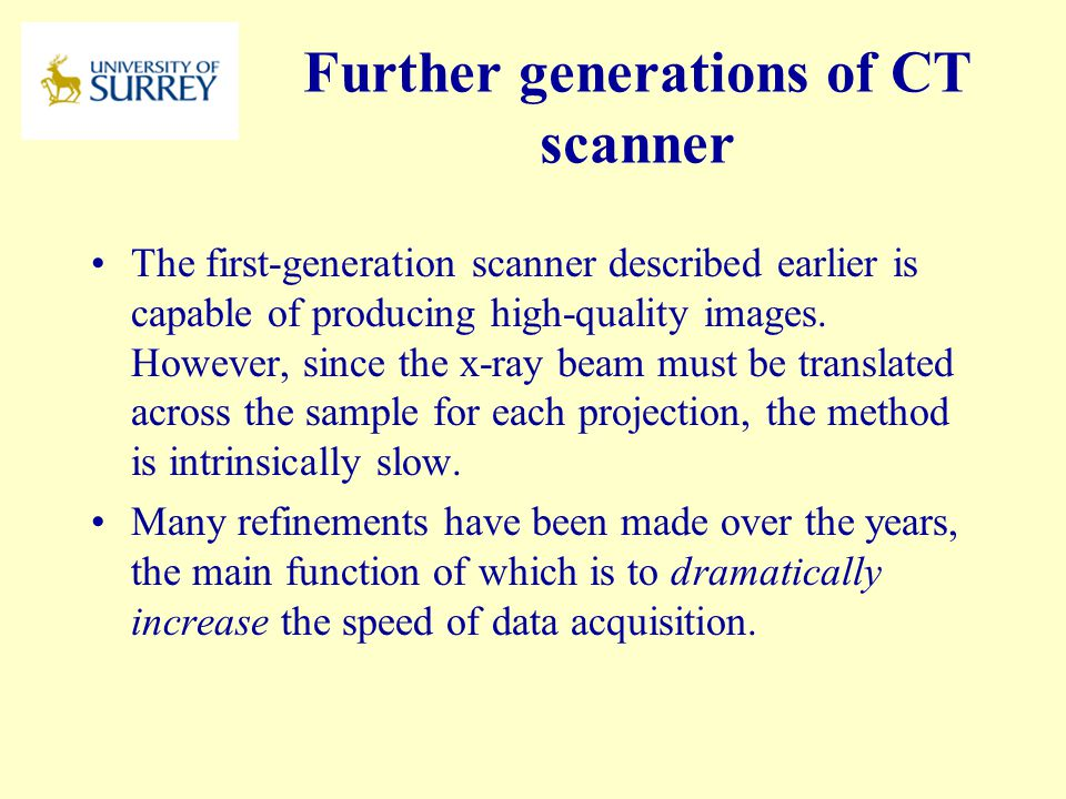 Further generations of CT scanner