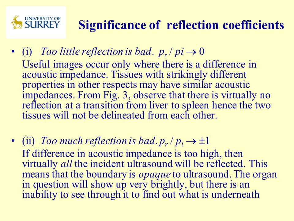 Significance of reflection coefficients