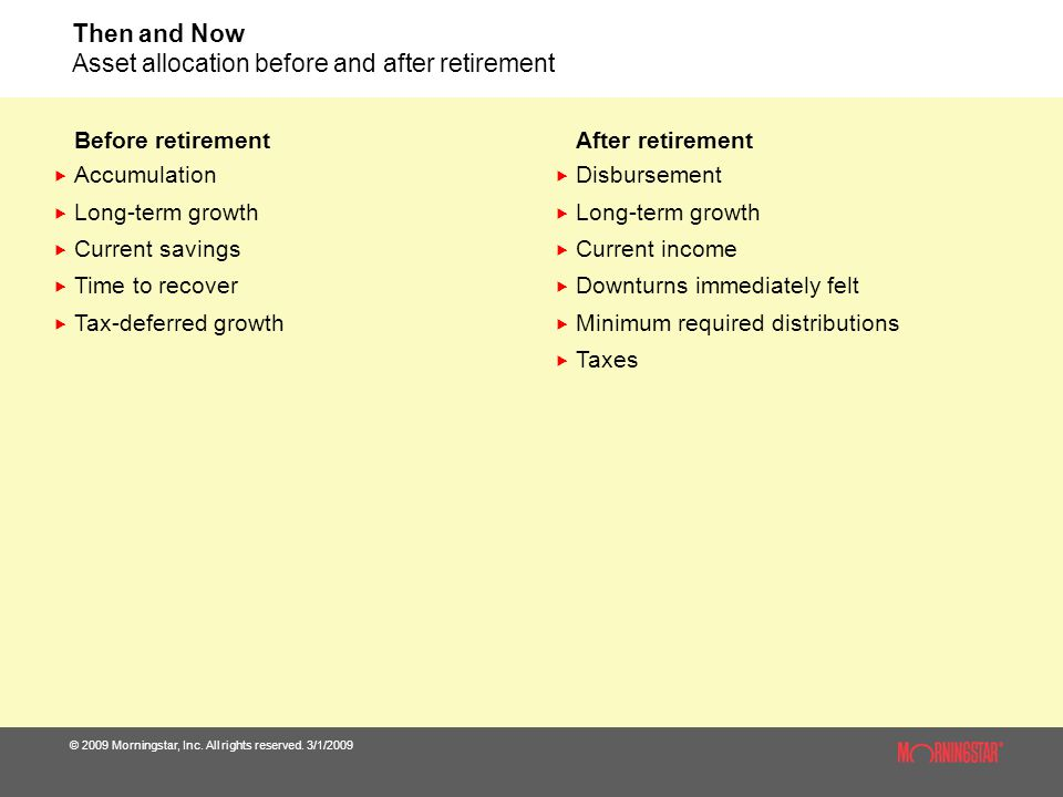 Then and Now Asset allocation before and after retirement
