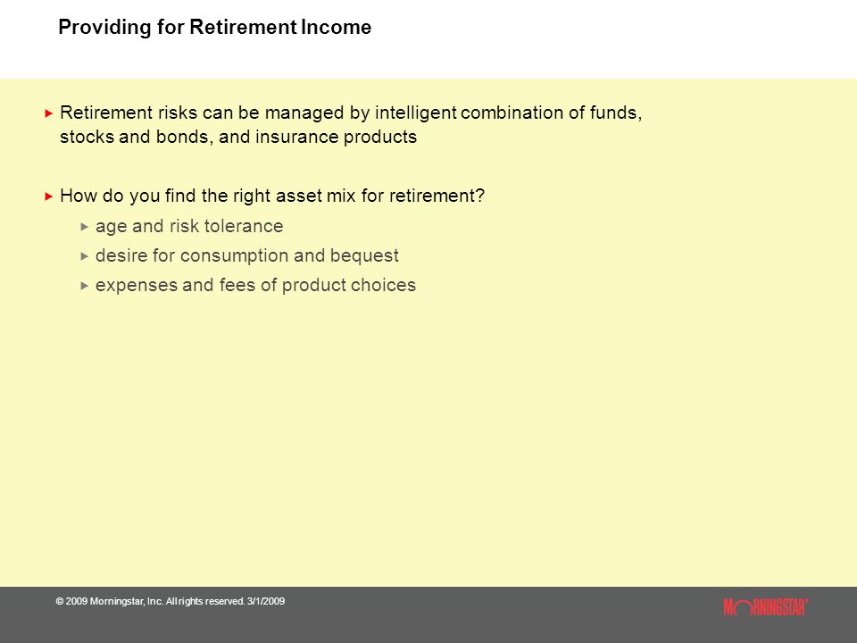Providing for Retirement Income