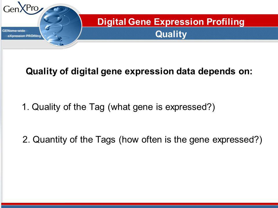 Quality of digital gene expression data depends on: